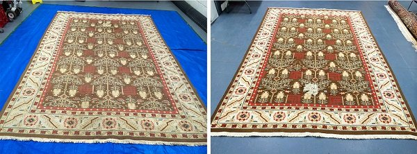 Before and after Persian rug cleaning in Cardiff