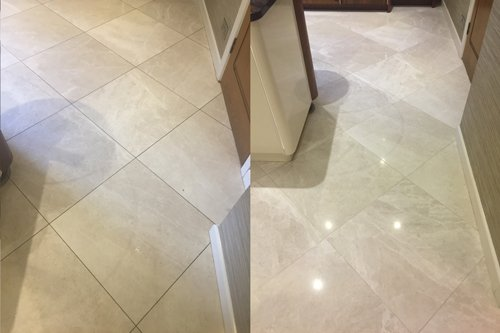 Marble floor before and after polishing in Neath