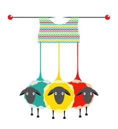 3 sheep hanging off a knitting