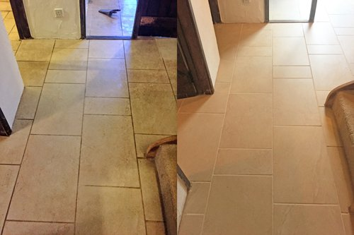 Hallway Ceramic floor clean before and after