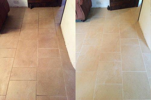 Dining room Ceramic floor clean vs dirty