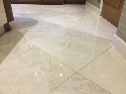 White polished Marble floor