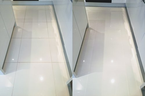 White Porcelain floor cleaning