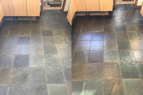 Slate floor colour enhanced sealant example