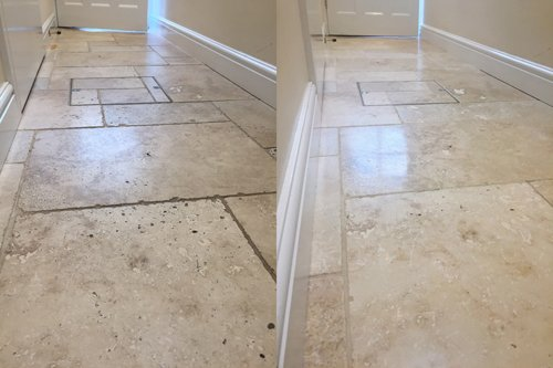 Tumbled Travertine hallway mid shine