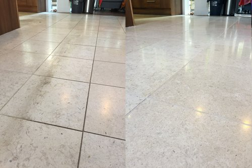 Catania Limestone before and after polishing