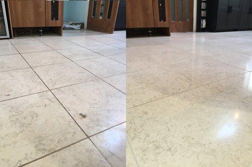Catania Limestone floor cleaned vs dirty