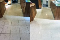 Before and after Catania Limestone kitchen floor clean