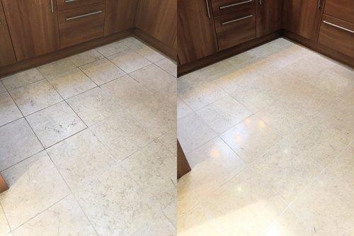 Polished Catania Limestone kitchen tiles