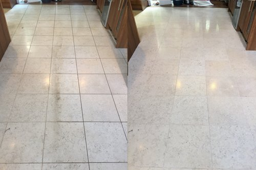 Catania Limestone floor before and after restoration