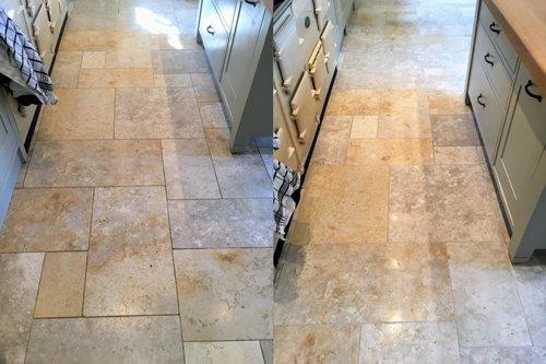 Jerusalem Brushed Limestone floor restoration before and after