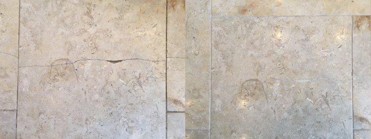 Jerusalem Brushed Limestone crack repair