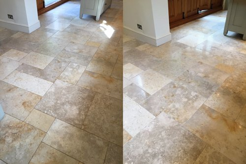 Brushed Limestone floor cleaning results