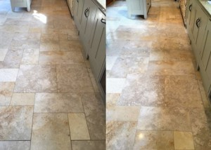 Cleaning results of a beige Jerusalem Limestone floor