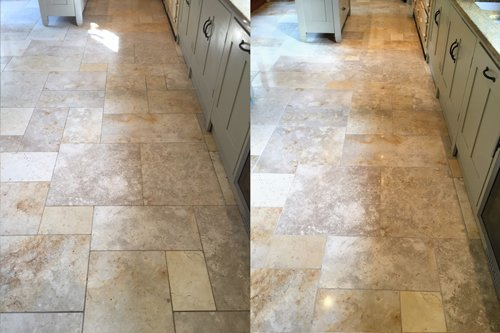 Cleaning results of a beige Jerusalem Limestone floor