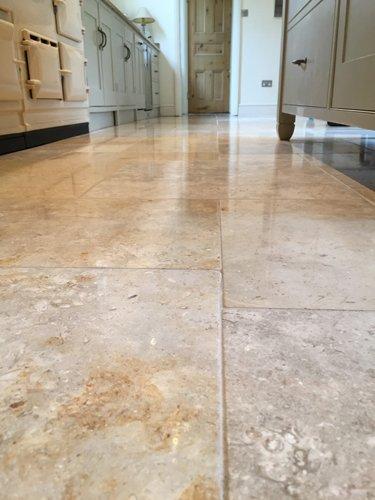 Lightly polished Jerusalem Brushed Limestone floor