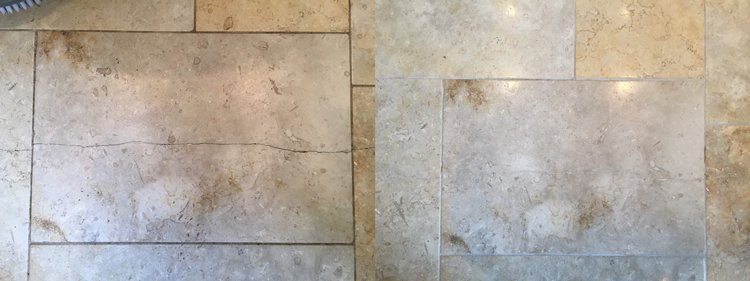 Crack repaired in a Limestone tile