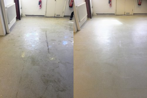 Altro safety floor strip and clean result