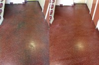 Altro resin floor before and after a deep clean