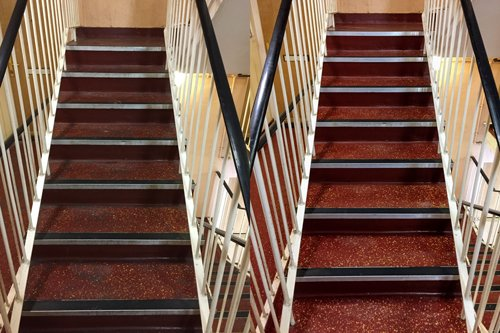 Cleaning results of a red Altro stairway floor