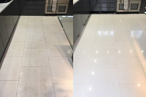 Polished white Limestone floor cleaning in Bristol