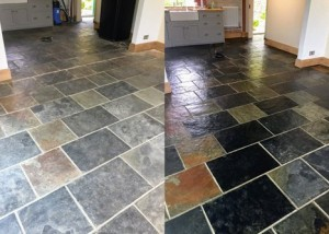 Chinese slate floor cleaning