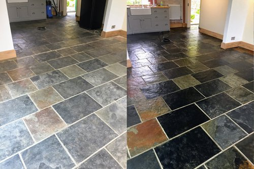 Slate floor cleaning in Bristol before and after results