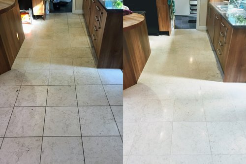 before and after of a Catania Limestone floor restoration in Bristol