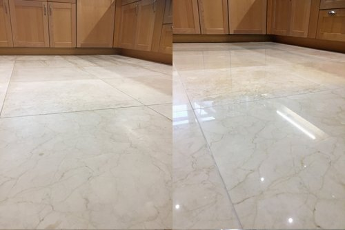 Marble cream floor highly polished