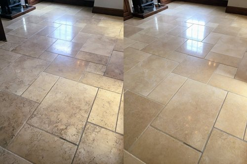 Limestone Tile Before After Cleaning