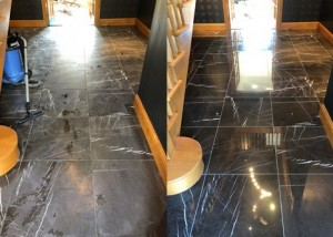 Polished Nero black marble floor before and after