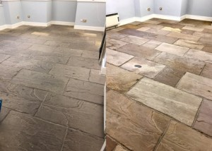 Margam Castle flagstone floor cleaning