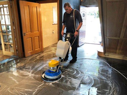 Ceramic tile floor cleaning