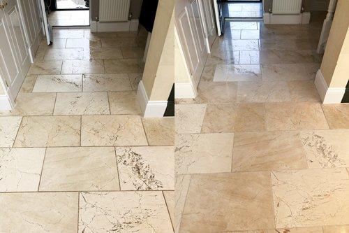 polishing limestone before after