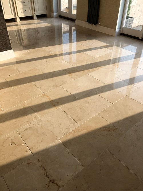 Limestone floor polished