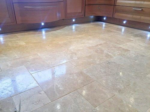 Polished beige Travertine floor in Barry