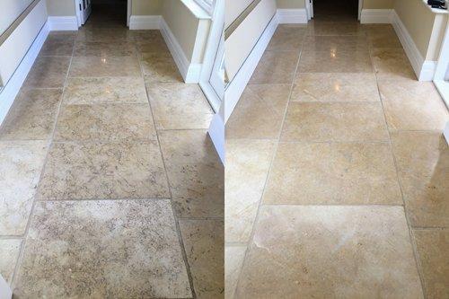 Dirty vs clean Jerusalem Limestone floor comparison