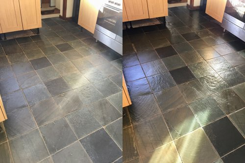 Slate floor cleaning with colour enhancer in Cardiff