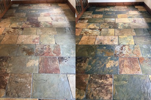 Indian slate floor cleaning before and after