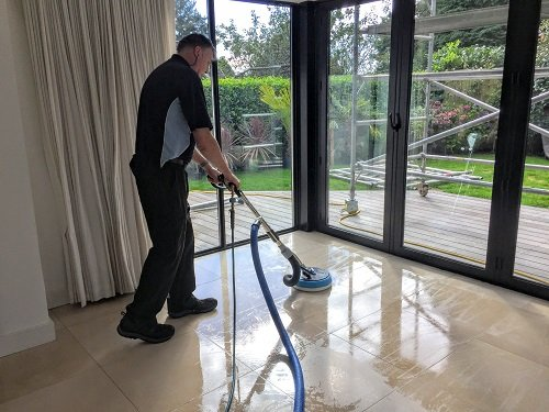 Kevin cleaning a floor with a Hydra Force