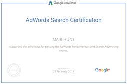 Adwords certified certificate of Mair Hunt