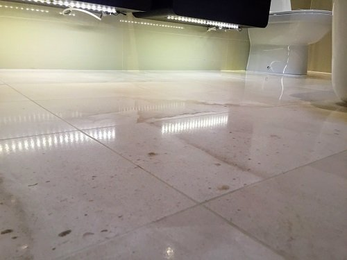 High shine polished marble floor in Cardiff