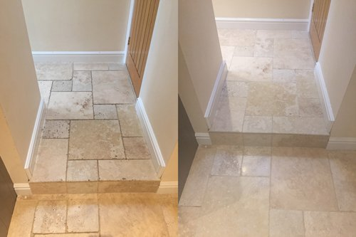 Newport Travertine floor cleaning before and after