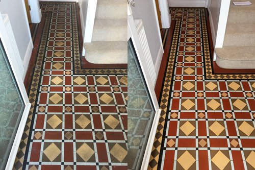 Victorian tiled floor clean in Newport