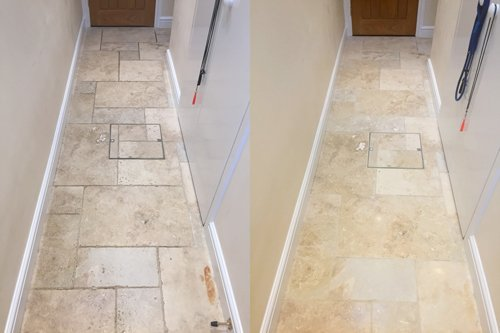 Before and after polished Travertine floor in Penarth