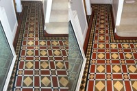 Victorian tiled hallway before and after cleaning