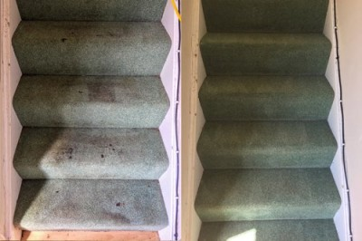 Before and after cleaning of a stairs carpet