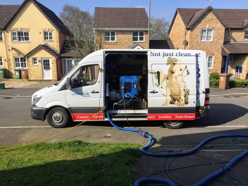 Carpet cleaning business van in Neath
