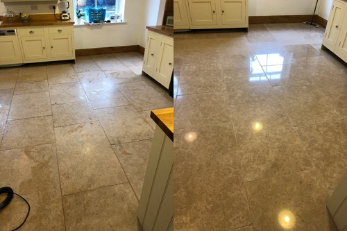 cleaning limestone polished