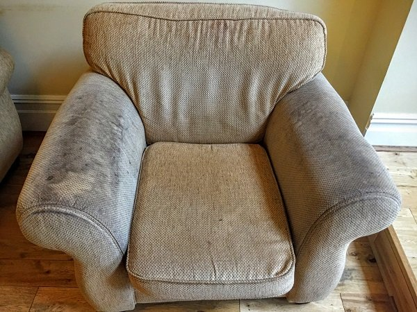 Dirty armchair before upholstery cleaning in Pontypridd
